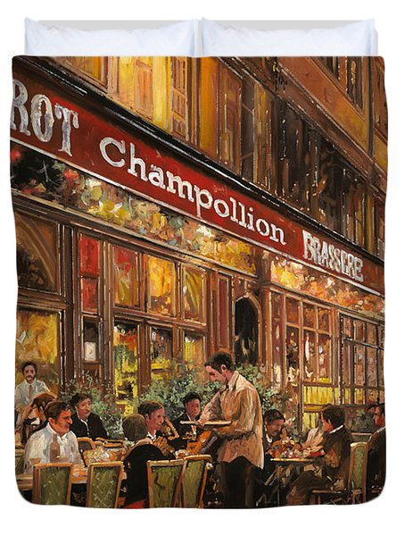 Bistrot Champollion Duvet Cover by Guido Borelli