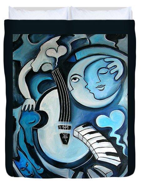 Black and Bleu Duvet Cover by Valerie Vescovi