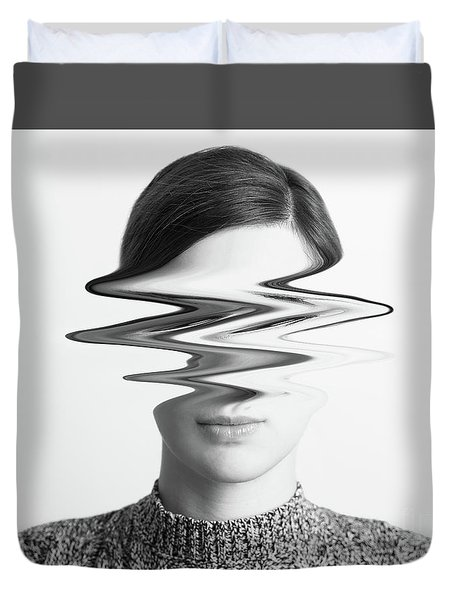 Black And White Abstract Woman Portrait Of Restlessness Concept Duvet Cover by Radu Bercan