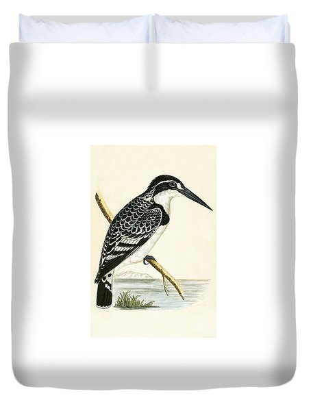 Black And White Kingfisher Duvet Cover by English School