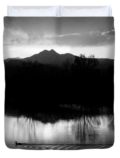 Black And White Lake Sunset Duvet Cover by James BO  Insogna