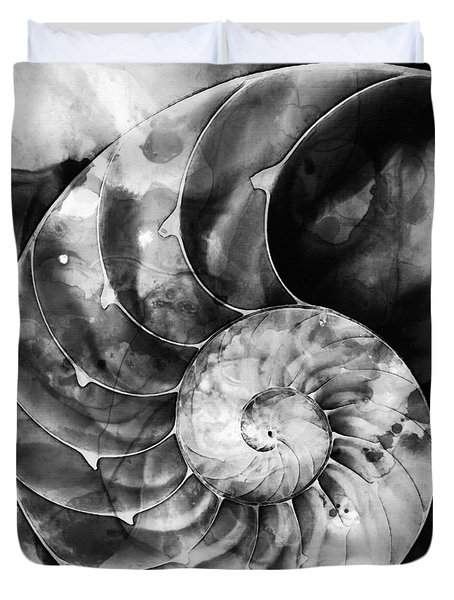 Black And White Nautilus Shell By Sharon Cummings Duvet Cover by Sharon Cummings