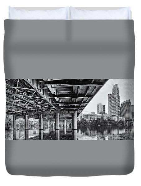 Black And White Panorama Of Downtown Austin Skyline Under The Bridge - Austin Texas  Duvet Cover by Silvio Ligutti