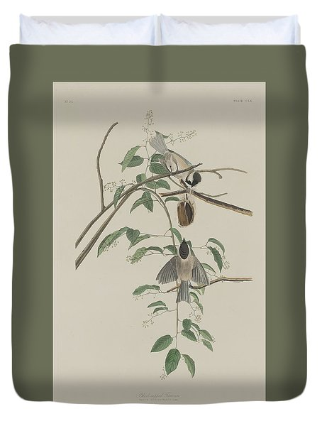 Black-capped Titmouse Duvet Cover by John James Audubon