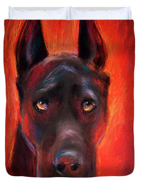Black Great Dane Dog Painting Duvet Cover by Svetlana Novikova
