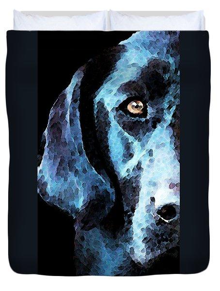 Black Labrador Retriever Dog Art - Hunter Duvet Cover by Sharon Cummings
