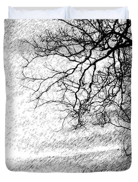 Black Rain Duvet Cover by Ed Smith