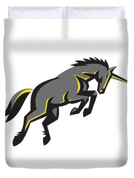 Black Unicorn Horse Charging Isolated Retro Duvet Cover by Aloysius Patrimonio