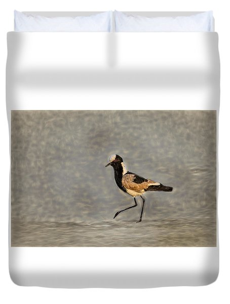 Black-wing Lapwing Art  Duvet Cover by Kay Brewer