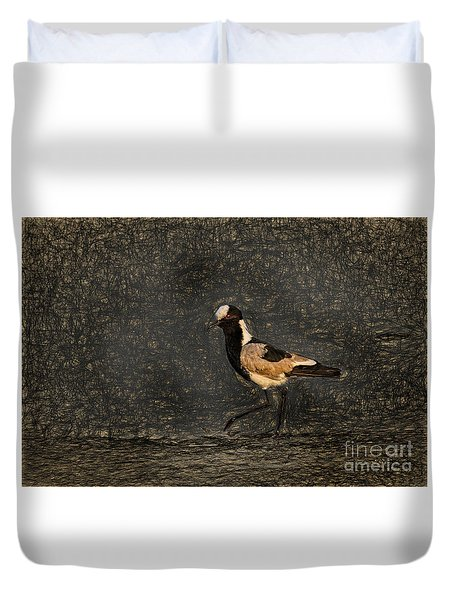 Black-wing Lapwing Da Vinci Duvet Cover by Kay Brewer