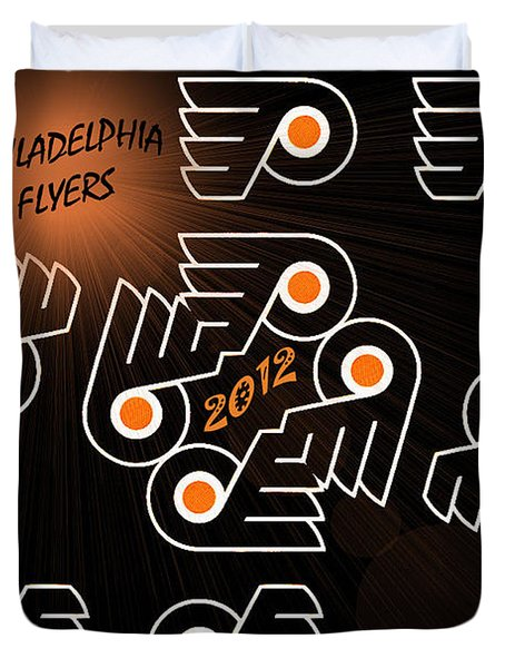 Bleeding Orange and Black - Flyers Duvet Cover by Trish Tritz