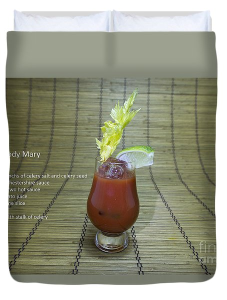 Bloody Mary, Bloody Caesar, Tomato Juice Duvet Cover by Karen Foley