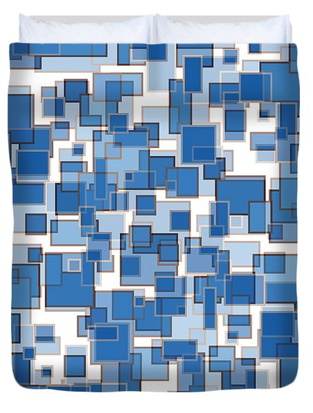 Blue Abstract Patches Duvet Cover by Frank Tschakert