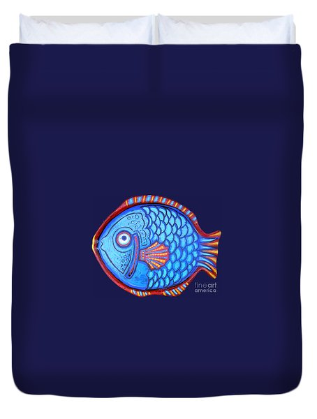 Blue And Red Fish Duvet Cover by Genevieve Esson