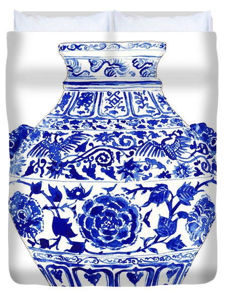 Blue And White Ginger Jar Chinoiserie 4 Duvet Cover by Laura Row