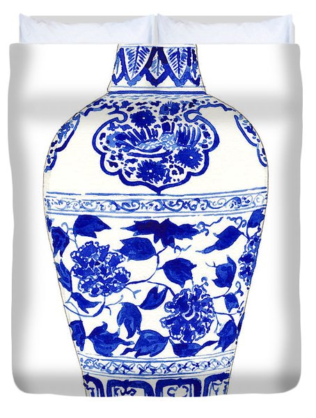 Blue And White Ginger Jar Chinoiserie Jar 1 Duvet Cover by Laura Row
