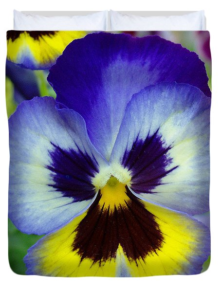 Blue And Yellow Pansy Duvet Cover by Nancy Mueller