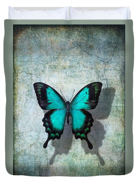 Blue Butterfly Resting Duvet Cover by Garry Gay