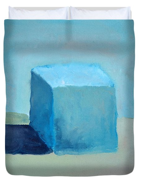 Blue Cube Still Life Duvet Cover by Michelle Calkins