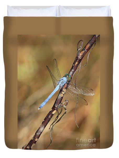 Blue Dragonfly Portrait Duvet Cover by Carol Groenen