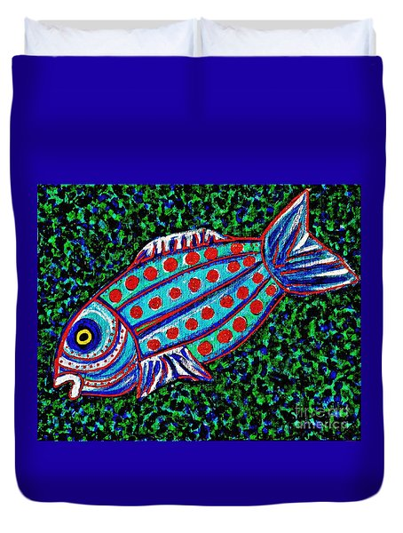 Blue Fish Duvet Cover by Sarah Loft