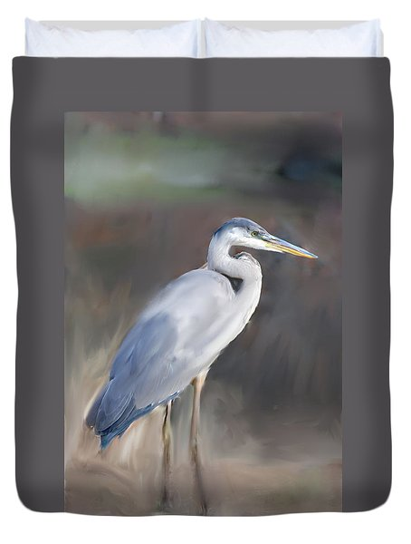 Blue Heron Painting  Duvet Cover by Don  Wright