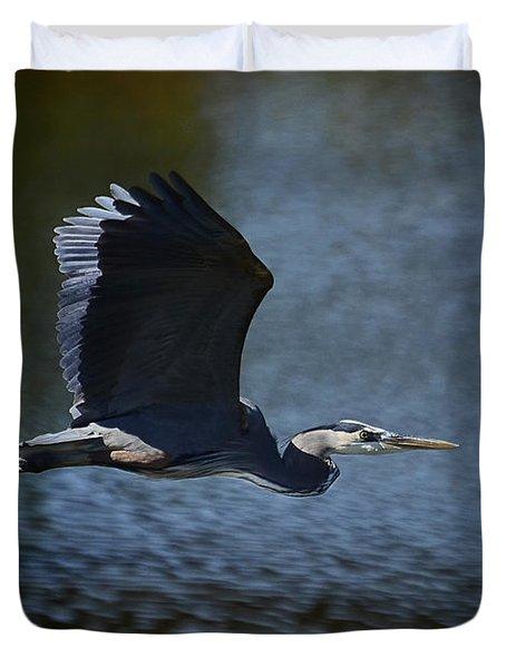 Blue Heron Skies  Duvet Cover by Saija  Lehtonen