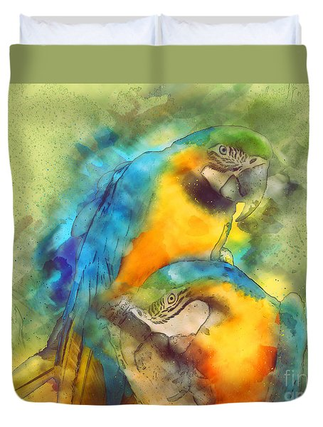 Blue N Gold Macaws Duvet Cover by Methune Hively