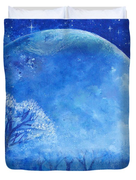 Blue Night Moon Duvet Cover by Ashleigh Dyan Bayer