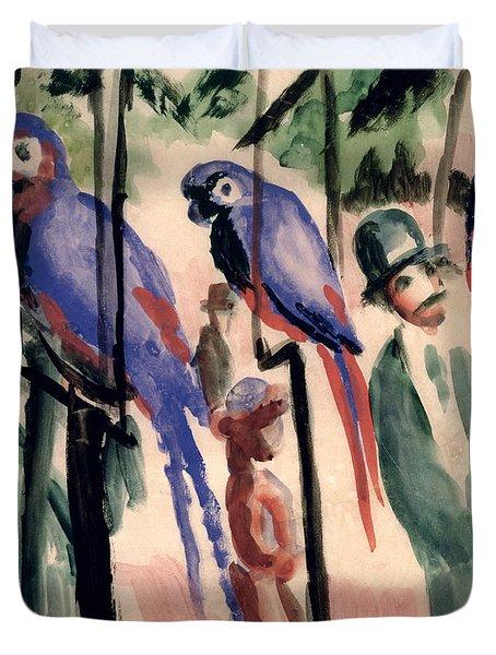 Blue Parrots Duvet Cover by August Macke