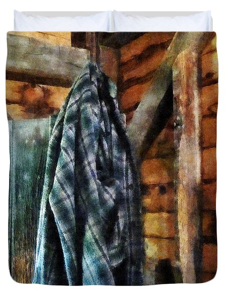 Blue Plaid Jacket in Cabin Duvet Cover by Susan Savad