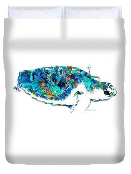 Blue Sea Turtle By Sharon Cummings  Duvet Cover by Sharon Cummings