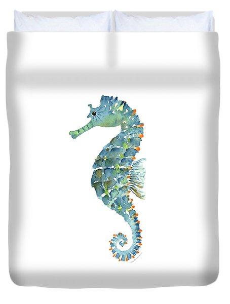 Blue Seahorse Duvet Cover by Amy Kirkpatrick