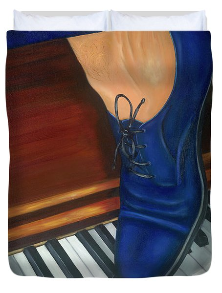 Blue Suede Shoes Duvet Cover by Marlyn Boyd