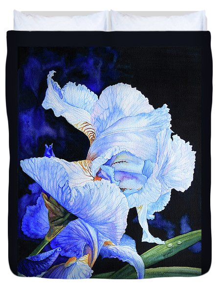 Blue Summer Iris Duvet Cover by Hanne Lore Koehler