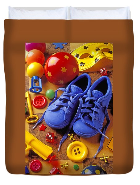 Blue Tennis Shoes Duvet Cover by Garry Gay