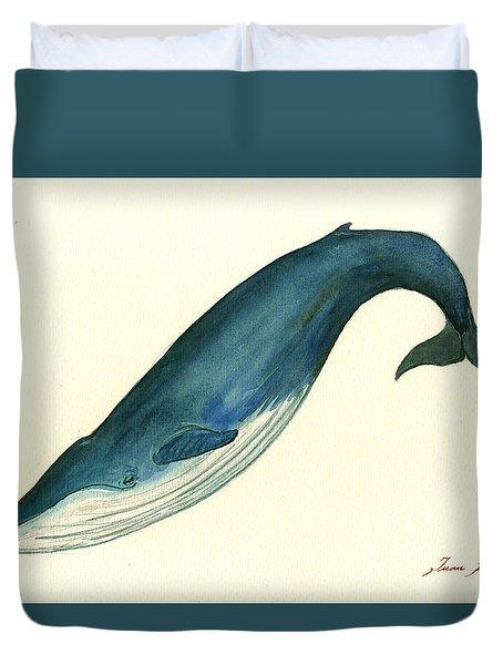 Blue Whale Painting Duvet Cover by Juan  Bosco