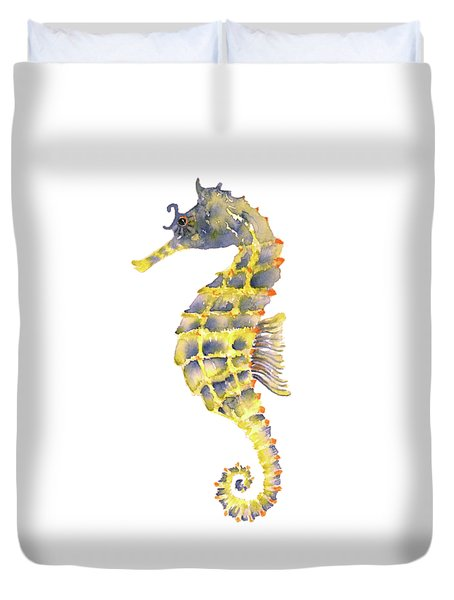 Blue Yellow Seahorse - Square Duvet Cover by Amy Kirkpatrick