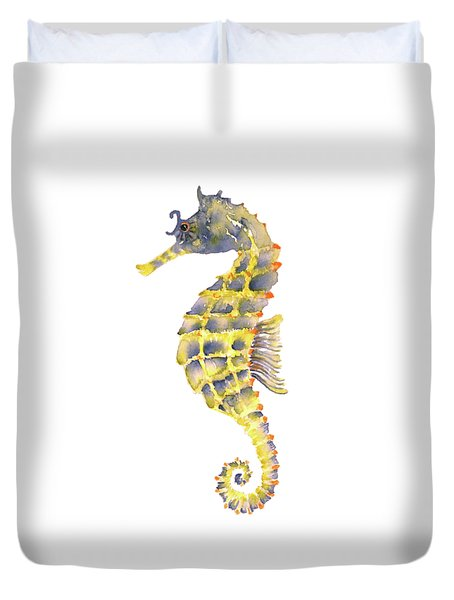 Blue Yellow Seahorse - Vertical Duvet Cover by Amy Kirkpatrick