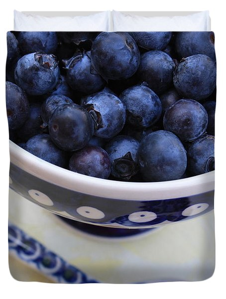 Blueberries With Spoon Duvet Cover by Carol Groenen