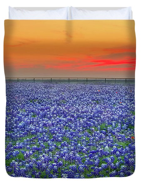 Bluebonnet Sunset Vista - Texas Landscape Duvet Cover by Jon Holiday