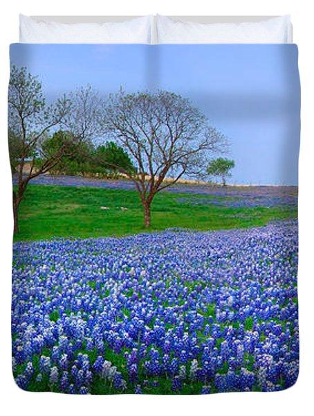 Bluebonnet Vista - Texas Bluebonnet wildflowers landscape flowers  Duvet Cover by Jon Holiday