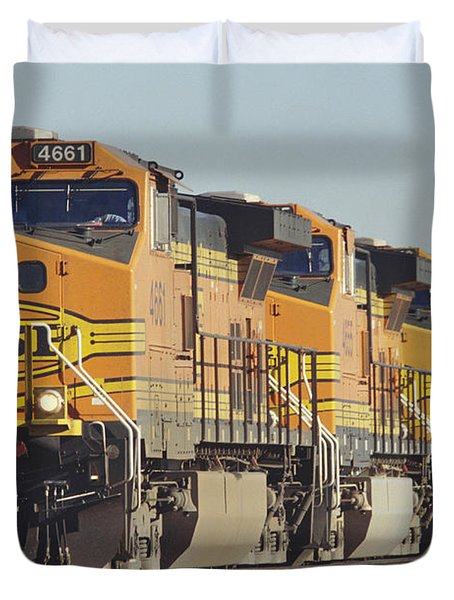 Bnsf Freight Train Duvet Cover by Richard R Hansen and Photo Researchers