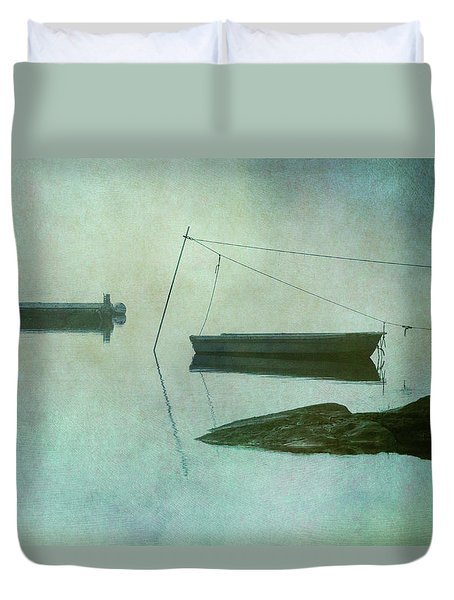 Boat And Dock Taunton River No. 2 Duvet Cover by Dave Gordon