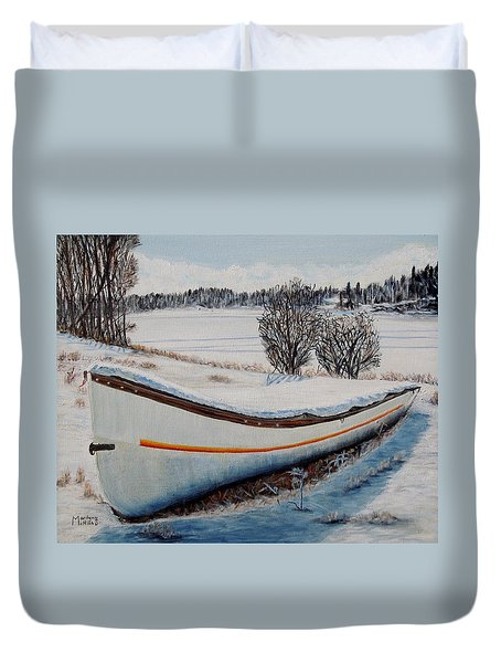 Boat Under Snow Duvet Cover by Marilyn  McNish