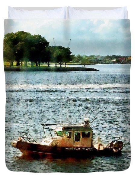 Boats - Police Boat Norfolk Va Duvet Cover by Susan Savad