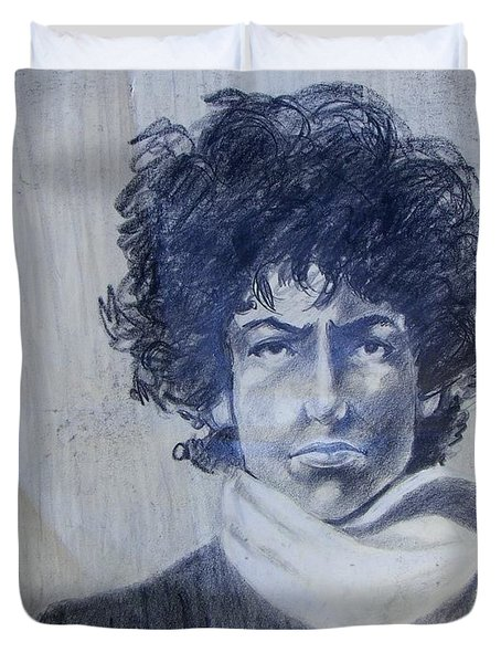 Bob Dylan In The Rock Years Duvet Cover by Judith Redman