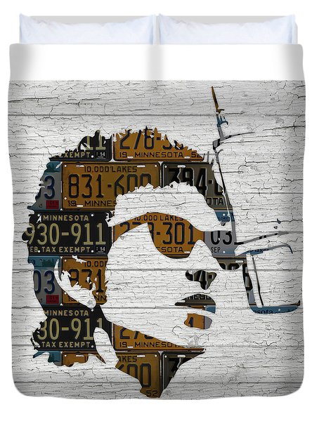 Bob Dylan Minnesota Native Recycled Vintage License Plate Portrait On White Wood Duvet Cover by Design Turnpike