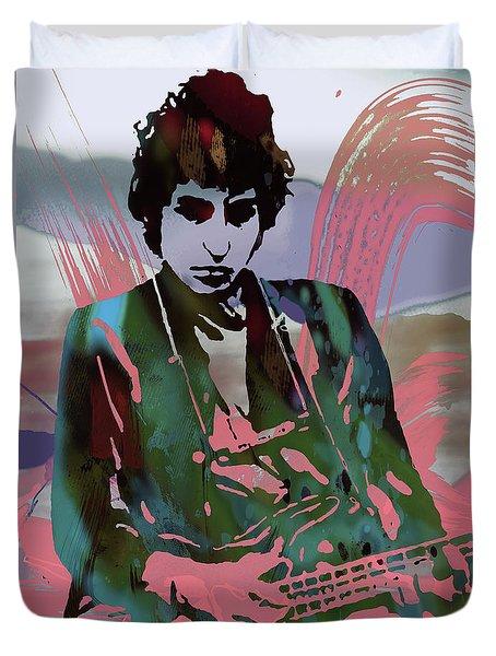 Bob Dylan Modern Etching Art Poster Duvet Cover by Kim Wang
