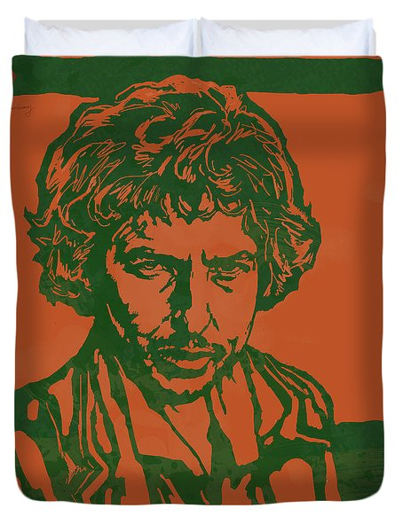 Bob Dylan Pop Stylised Art Sketch Poster Duvet Cover by Kim Wang
